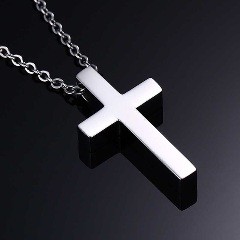 "Vnox Classic Blank Cross Necklaces Prayer Christ Stainless Steel Men Women Religion Lucky Jewelry 20"" Chain"