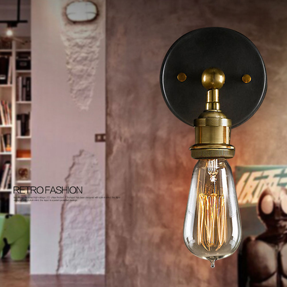 American loft industrial retro creative wall light corridor cafe bar personality wall sconce E27 bulb home decoration lighting 2