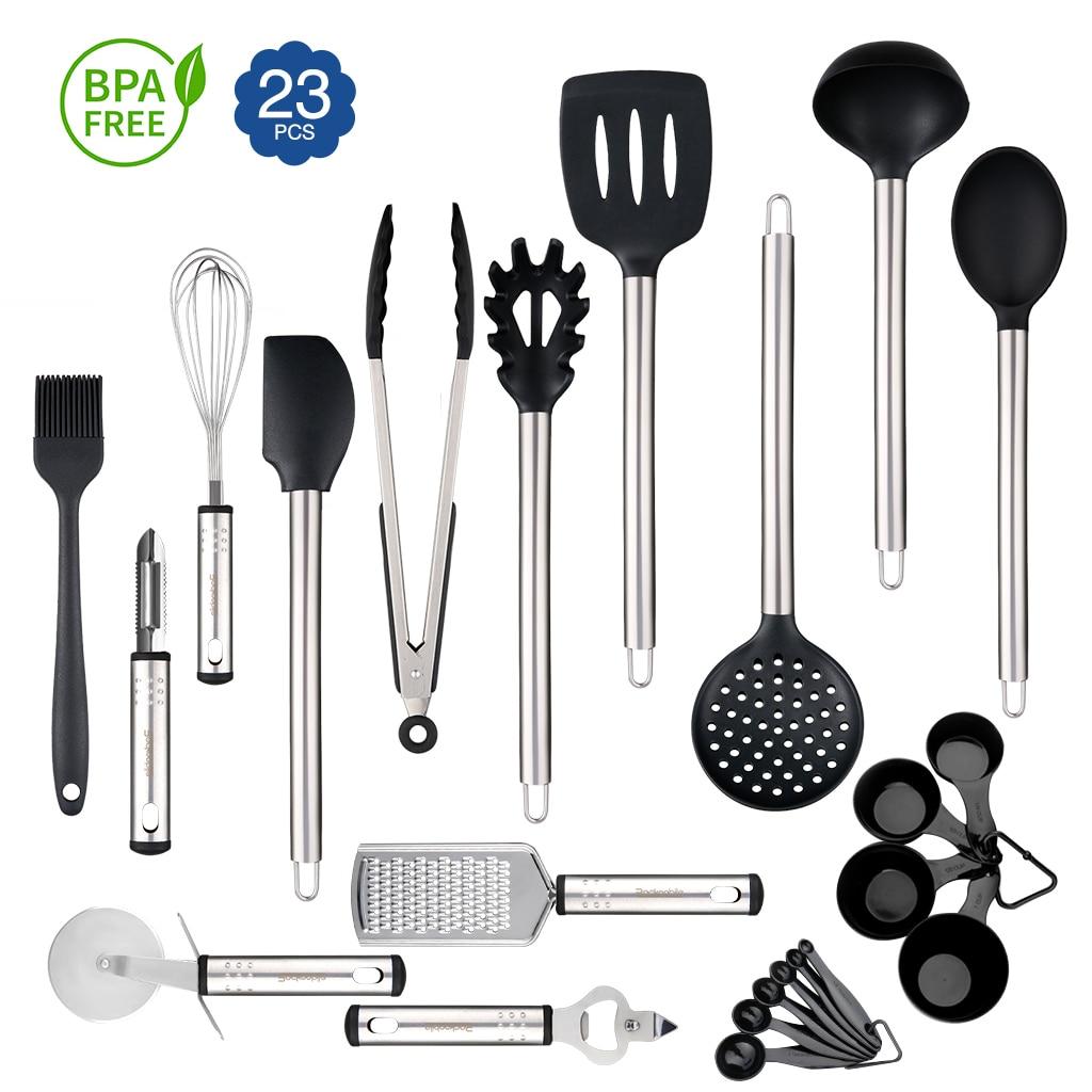 9-Piece Kitchen Cooking Utensil Set Stainless Steel /& Nylon Gadget Tools US Ship