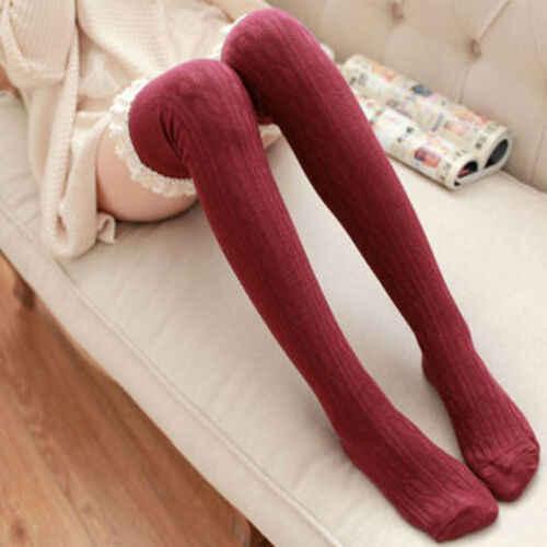 แฟชั่นผู้หญิงฤดูหนาว Warm Over เข่าต้นขาสูงนุ่มถุงน่องสีดำสีขาวสีน้ำเงินสีแดงสีเทา