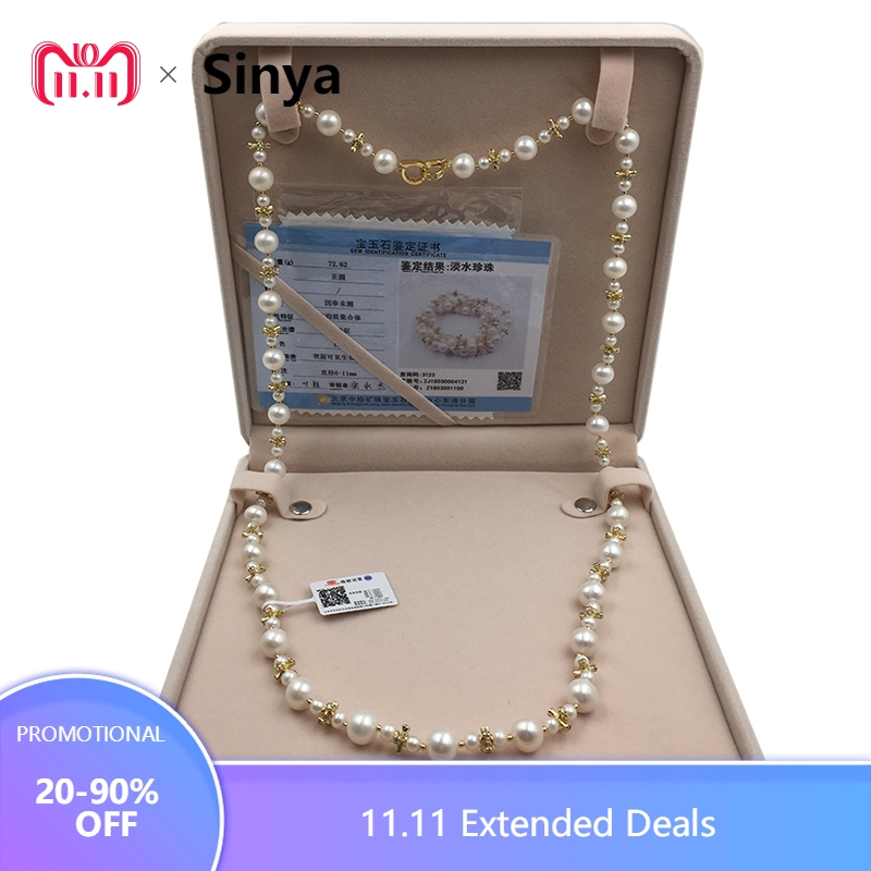 Sinya Pearl Sweater chain necklace Round Natural pearls strands long necklace for Women Girl Mum lover length 85cm dia 10-11mm цена 2017