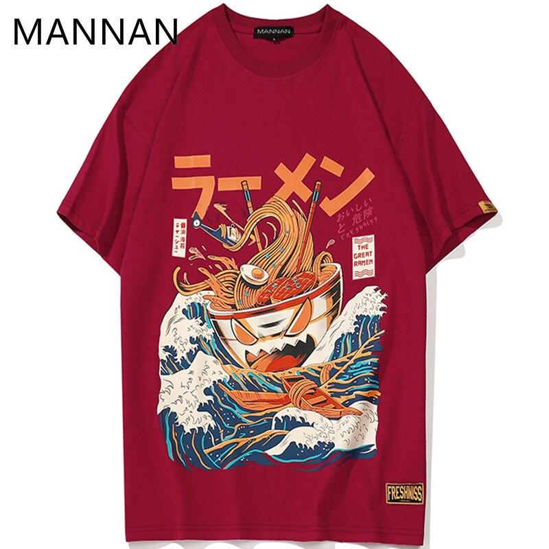 MANNAN  Japanese funny cartoon ramen cotton printed t shirt men 2018 summer hip hop fashion short sleeve streetwear t shirts