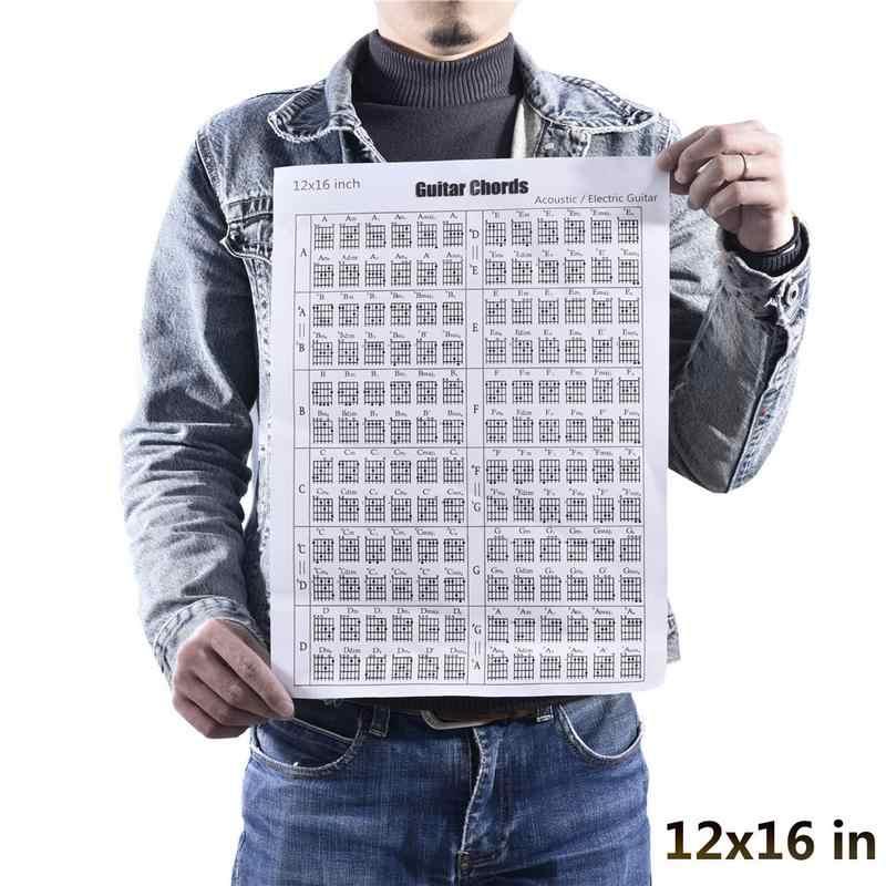 """24 """"/12"""" Акустическая Электрогитара Chord масштаб диаграмма плакат инструмент занятия музыкой учебные материалы справочные вкладки диаграмма"""