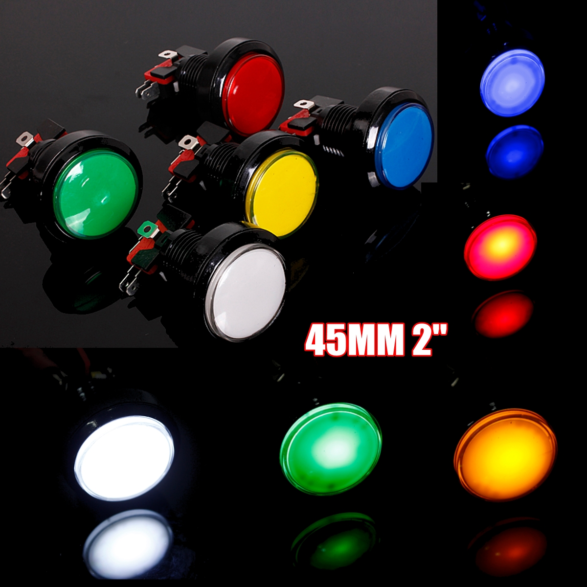 45mm Push Button Arcade Button Led Micro Switch 5V/12V Power Button Switch Set Green/Yellow/Red/White/Blue(China)