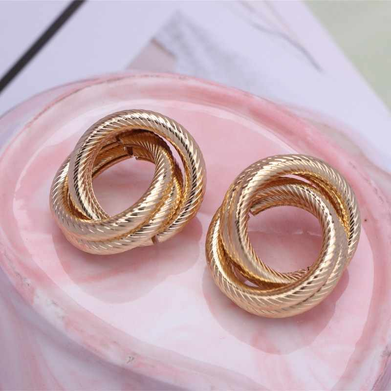 Women Fashion Jewelry Earrings Statement Gold Silver Color New Design Geometric Round Stud Earrings Ear Accessories Modern Party
