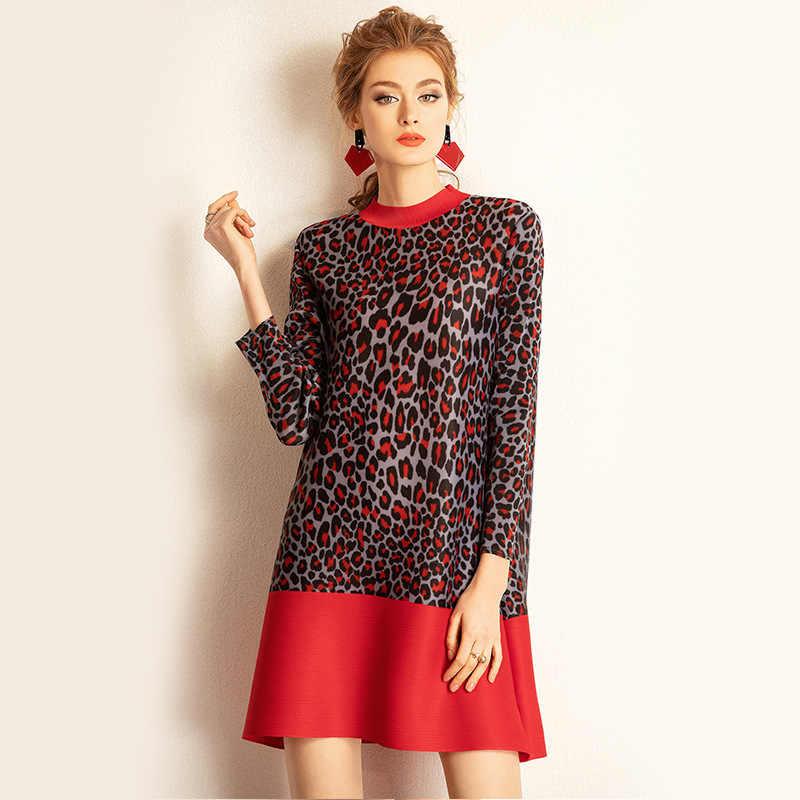 LANMREM 2019 новое летнее женское плиссированное платье круглый воротник лоскутный подол Леопардовый принт одежда мода высокого качества QF177