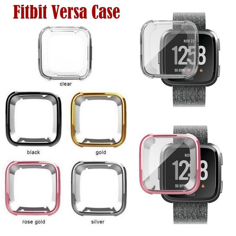 EastVita Soft Plating TPU Cover Cases For Fitbit Versa Full Screen Protector Silicone Case For Fitbit Versa Smartwatch Case