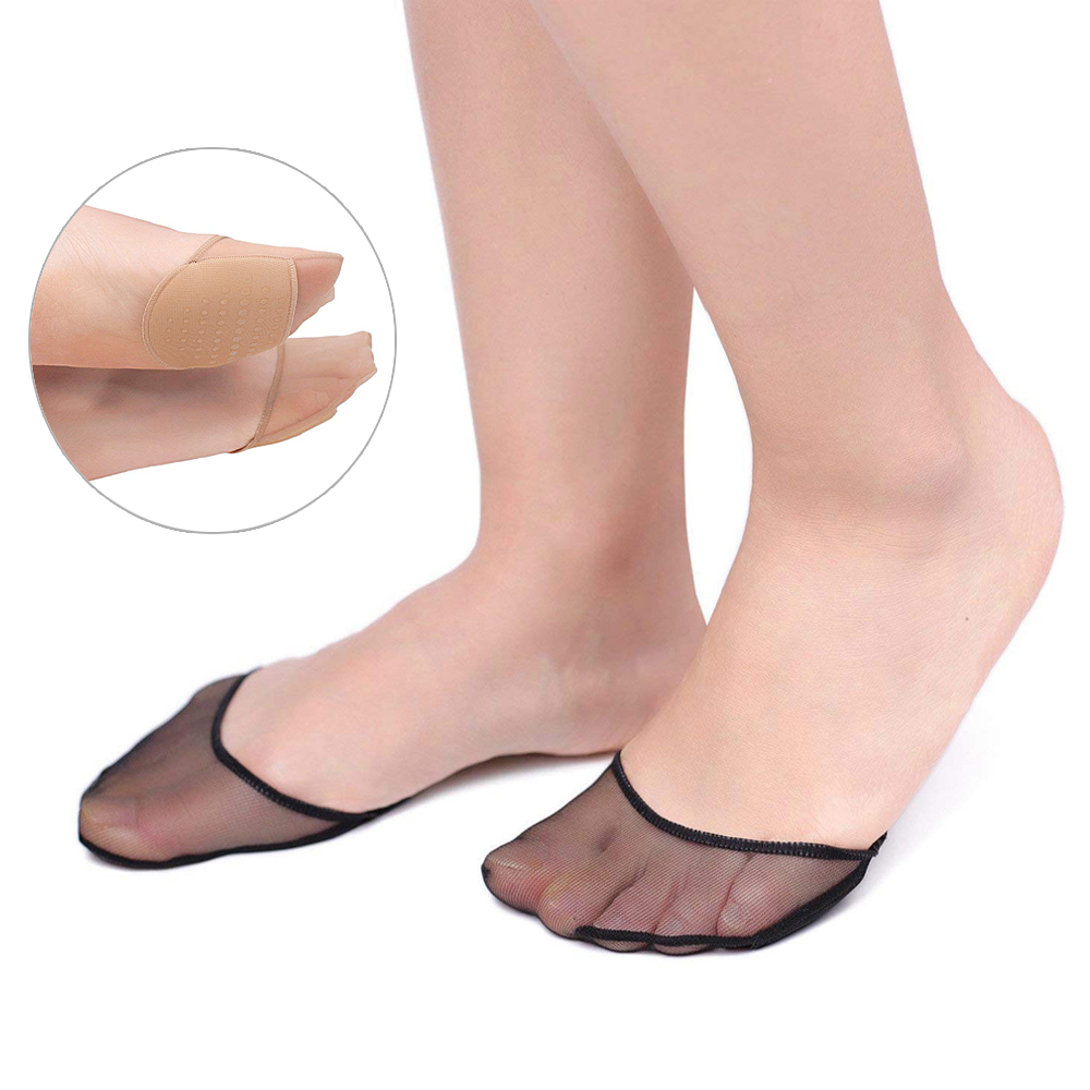 1/2 Pairs High Heels Cushion Anti-Slip Silicone Dotted Invisible Women Forefoot Insole Pad  Front Heel Socks Half Pad