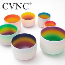 CVNC  8-14 Chakra tuned set of 7pcs rainbow color Frosted Quartz Crystal Singing Bowl for sound therapy