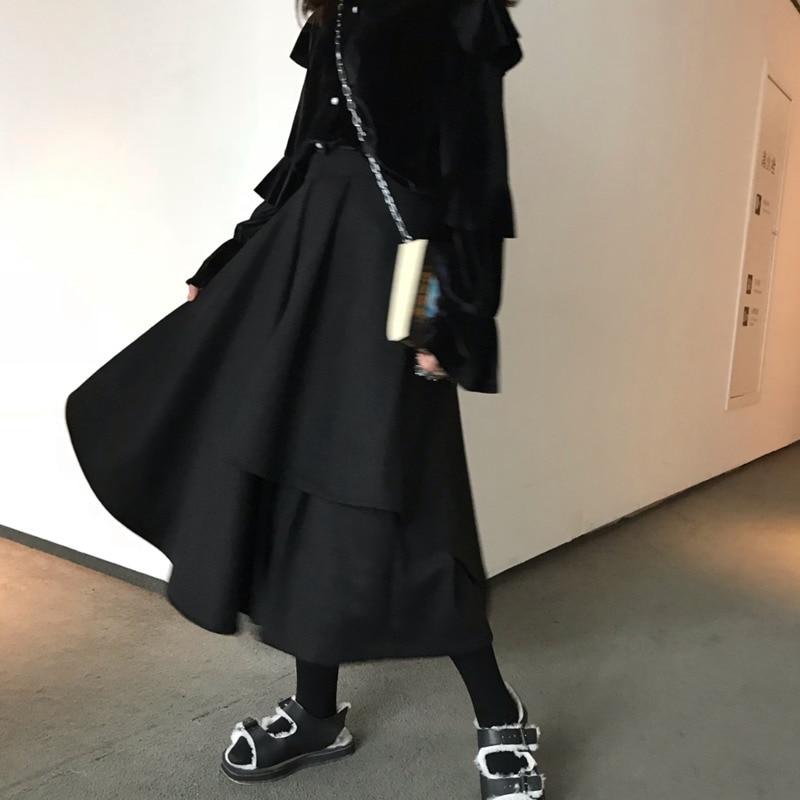 De Nueva 2019 Wd48401 Primavera Bolsillos Muerte Falda Estilos Mujer Halfbody Moda Asimétrico Black Ropa Japón Irregular 4awx5F5qIn
