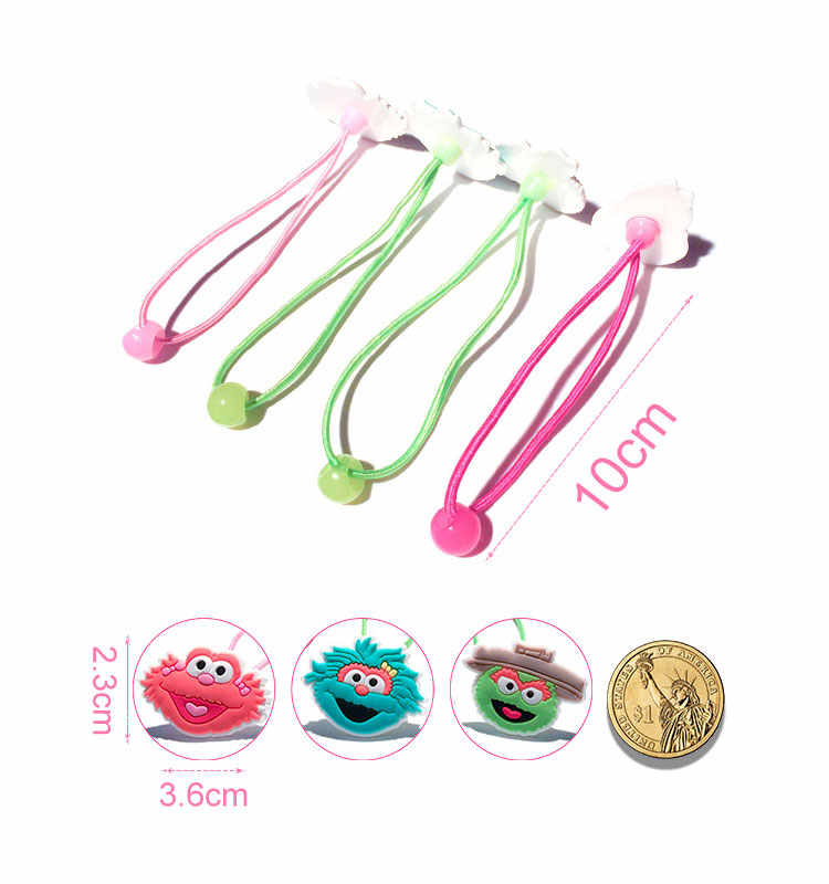 1pair/2pcs Sesame Street Cartoon Elastic Rubber Hairbands Ponytail Hair Accessories for Girls Headwear Kid Xmas Party Gift