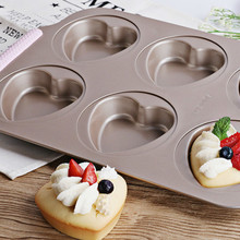 Luxury Silica Hand Baking Mould for Six Connected Heart Plate Cake Mould Cake Baking Plate Mould цена 2017