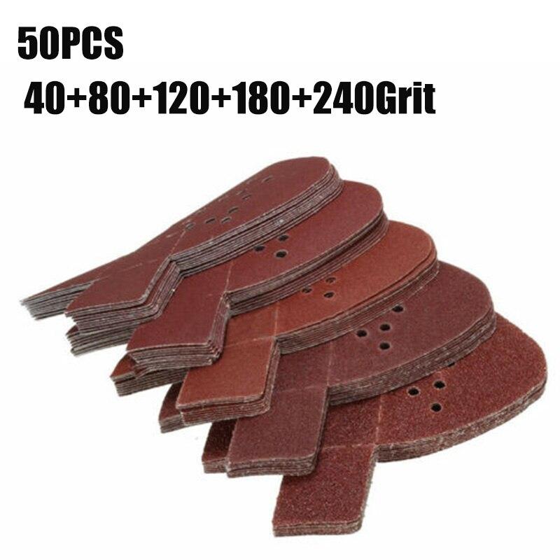 50pcs Sanding Paper 40+80+120+180+240Grit Mouse Sanding Sheets Pads For Black & Decker Sander For Polishing
