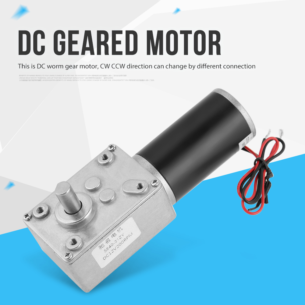 Geared Motor 5840 31ZY Permanent Magnet DC Turbo Worm Gear Motor Gearbox with self locking Reversed Reduction Motor 12V 200RPM