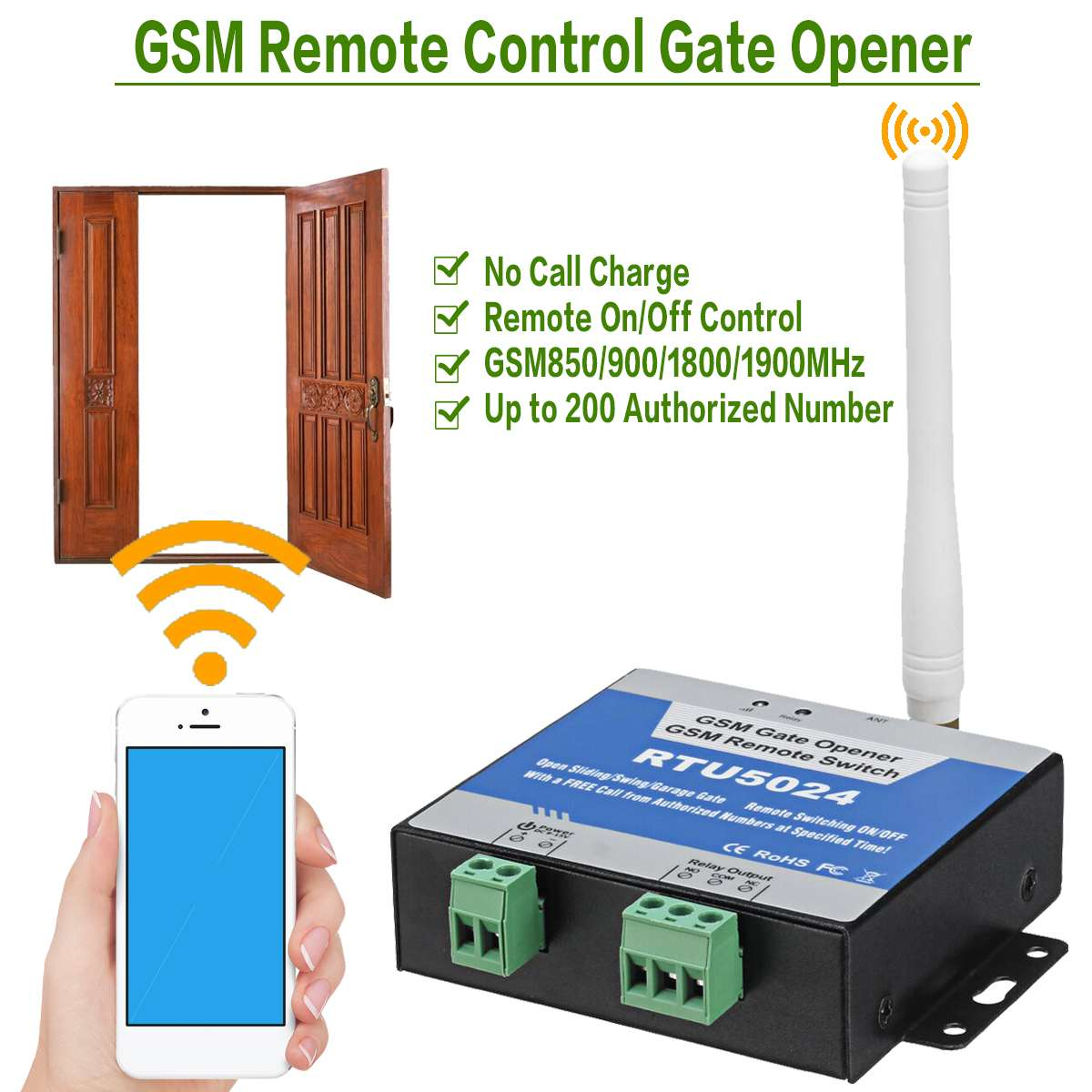 GSM Tor Öffner Relais Schalter Drahtlose Türöffner Fernbedienung Tür Access Kit Durch Freies Anruf 850/900/ 1800/1900 MHz RTU5024