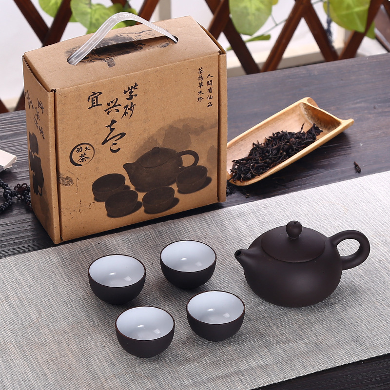Soffe סגול חול קרמיקה Chiness קונג פו קומקום סט עם 4 מיני כוס 1 סיר מתאים לבית משרד תה סט Drinkware
