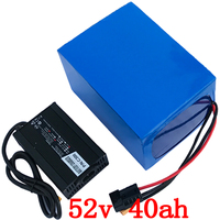52V battery 52V 40AH electric bike battery 52V 40AH 2000W Lithium Battery Built in 50A BMS with 58.8V 5A charger