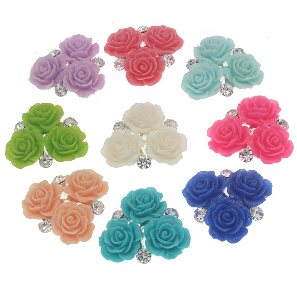 Craft sew on button 10pcs Acrylic Stone Buttons Silver Plated Back 27mm Rose