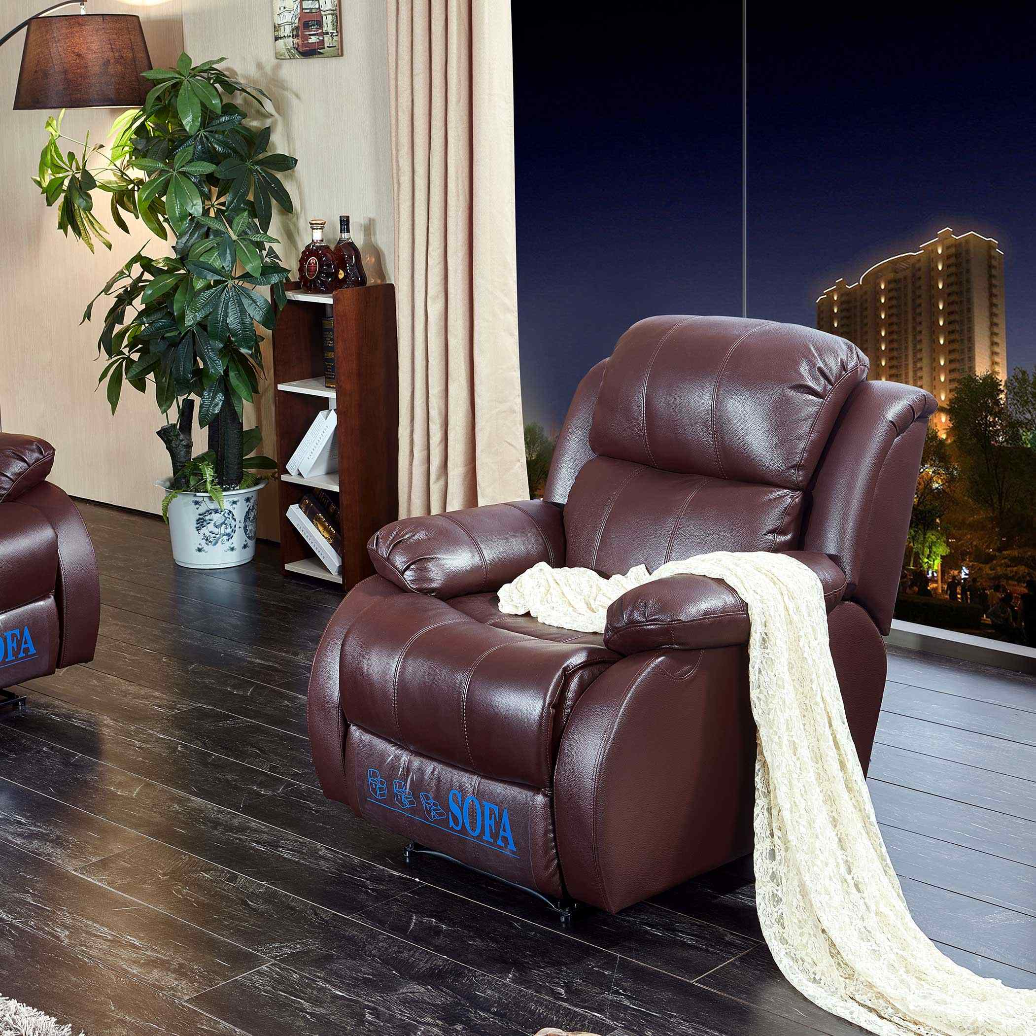 Genuine Leather Electric Riser Recliner Arm Chair With Remote