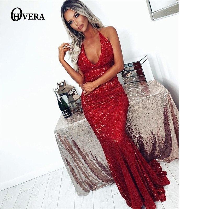 dc000da64b1 Sexy Longue Solide D été Robe Maxi En Noir rouge Femmes Halter Soirée  Élégant De Col ...