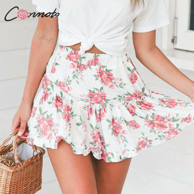 Conmoto 2019 Summer Mini Ruffle Sexy Women Skirts High Waist Floral Bohemian Short Skirt Romantic Beach Female Skirt