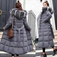 Зимняя женская пуховая куртка с длинным капюшоном 2018 модная зимняя одежда теплая хлопковая стеганая парка с длинным рукавом пуховое пальто...