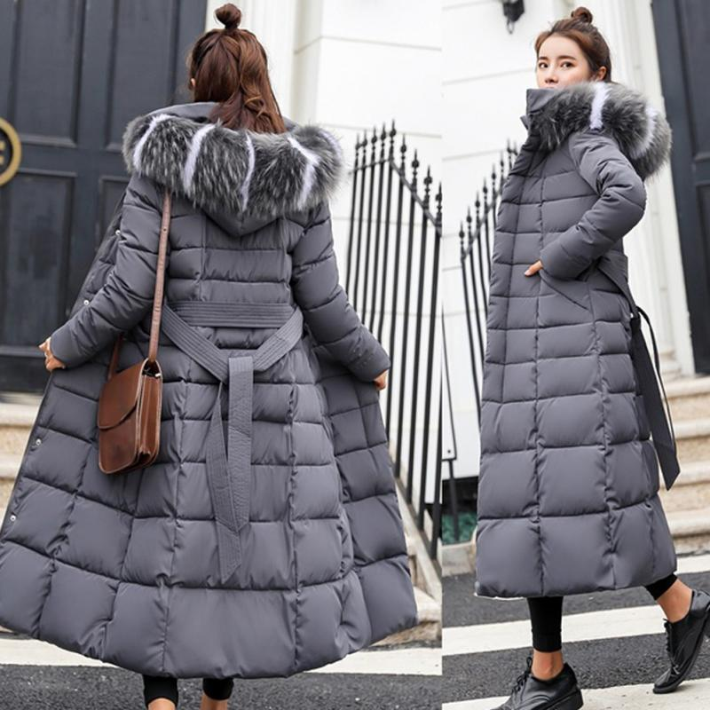Winter Women Down Jacket Long Hooded 2018 Fashion Snow Clothing Warm Cotton-padded Long Sleeve Parkas Down Coat For Female #1124