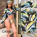 Thefound 2019 New Sexy Women's Long Sleeve Print Zipped Bra Set Summer Beach Swimsuit 3pcs