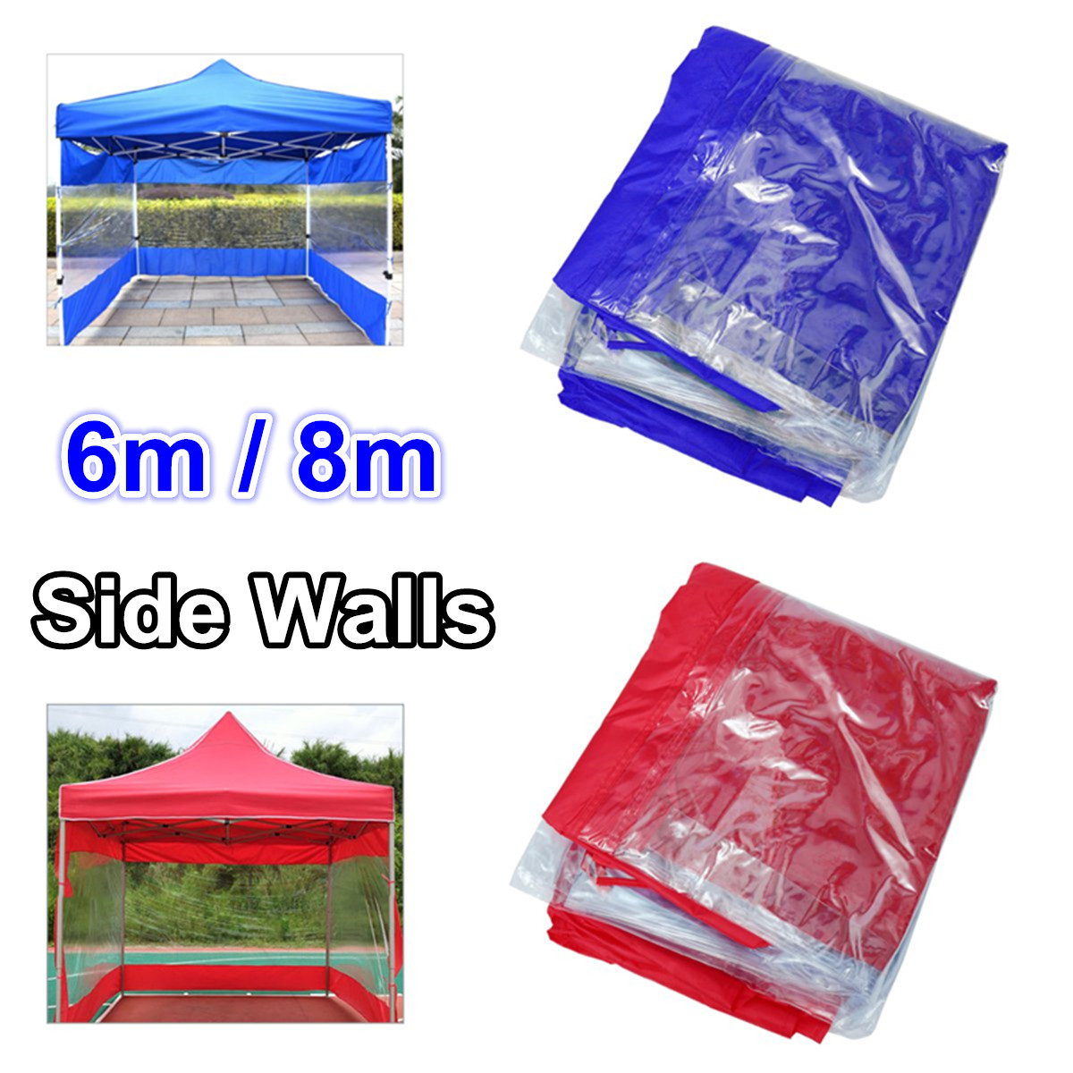 Polyester Canopy Side Wall Carport Garage Enclosure Shelter Tent Party Sun Wall Sunshade Shelter Tarp Sidewall Sunshade 6/8M|Tents| |  - title=