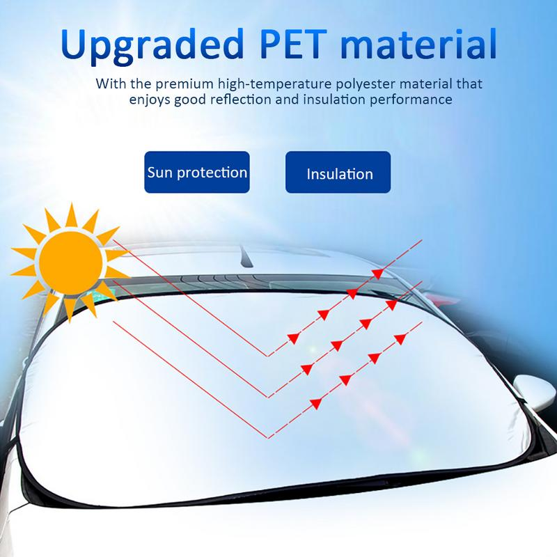 Summer Car Front Sun Reflective Protection Aluminum Foil Insulated UV Cover Protector Explosion Proof Hanging Style Supplies in Windshield Sunshades from Automobiles Motorcycles