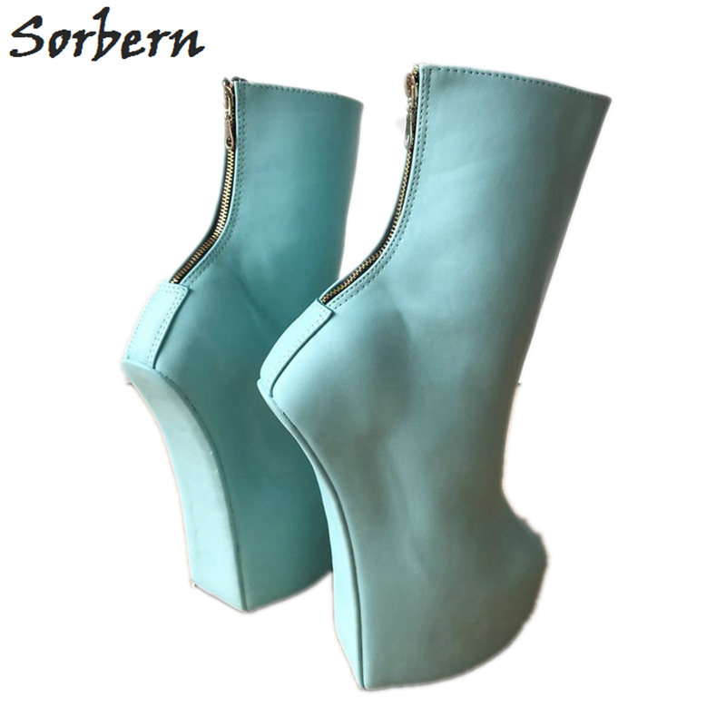 1c064bcfebdbf Sorbern Pale Green Ankle Boots Wedge Heelless Zipper Hoof Shoes Ladies  Thick Platform Custom Wide Fit Calf Boots 2018 Autumn