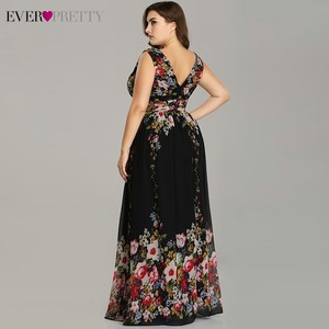Image 3 - Sexy Double V neck Sleeveless Black Long Flower Print Chiffon Formal Evening Dress 2020 Ever Pretty EP09016 Formal Gowns