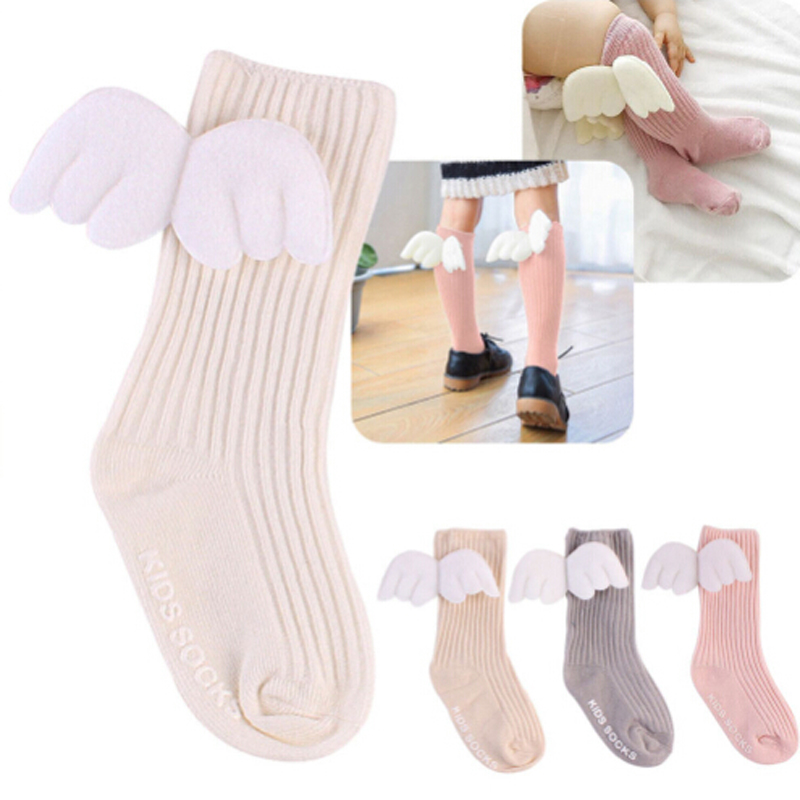 0 4Years Cute Baby Kids Toddler Girl boys Soft Knee High Leg Warmer Angel Wings Socks Super in Socks from Mother Kids