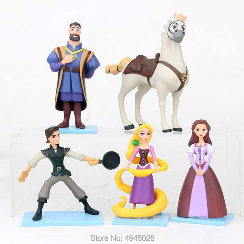 Rapunzel Tangled Princess Flynn Ryder PVC Action Figures Mother Gothel Maximus Horse Figurines Dolls Kids Toys for Children Gift