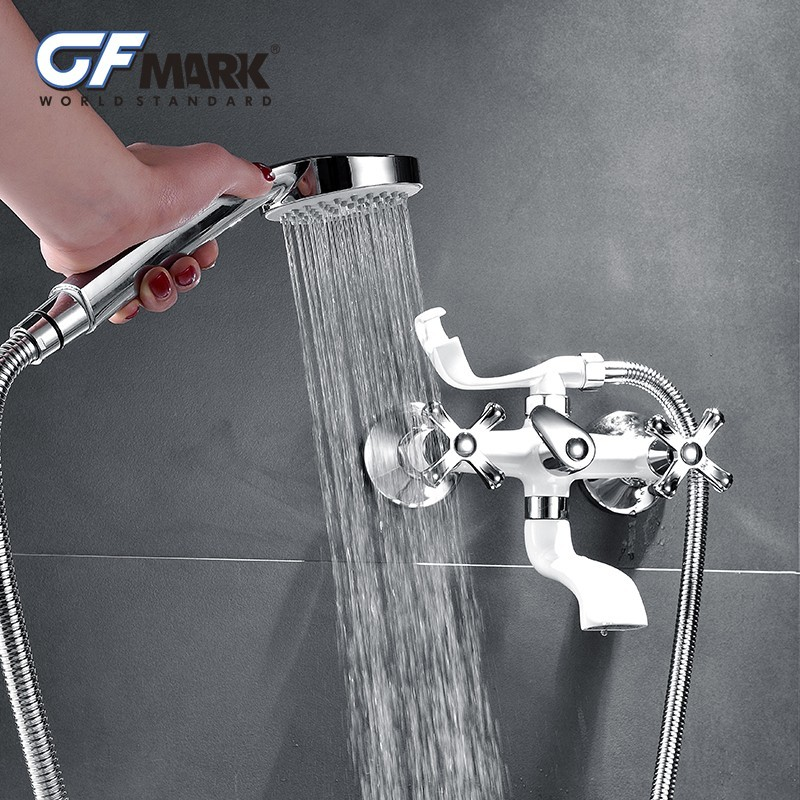 Classic Bathroom Shower Faucet Bathtub Faucet Mixer Tap With Hand Shower Head Set Wall Mounted Chrome Brass Spray Painting