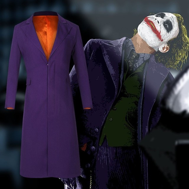 f47277893 Batman Joker Costume Cosplay Man The Dark Knight Only Coat Shirt Pants  Halloween Cosplay Purple Jacket Movie Hero Accessories