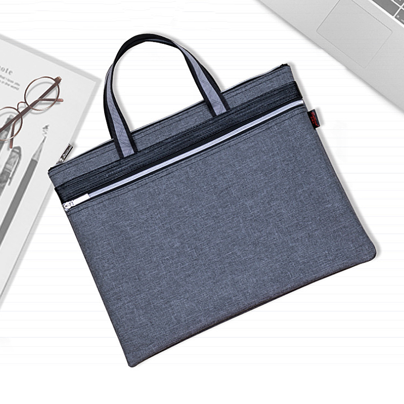 Multi-Functional Zipper Business File Organizer Holder Document Bag Handbag Messenger Tote Bag with 2 Compartments for Unisex Travel Portable Briefcase