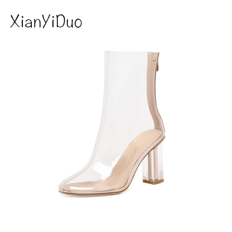 Grande Chaussures Zipper Talon Nouveauté Printemps 555 x De Parti Clair 5cm Haute Bottines Taille Femmes Transparent 2019 8cm Mode Xianyiduo clear Clear 6 z7q0P