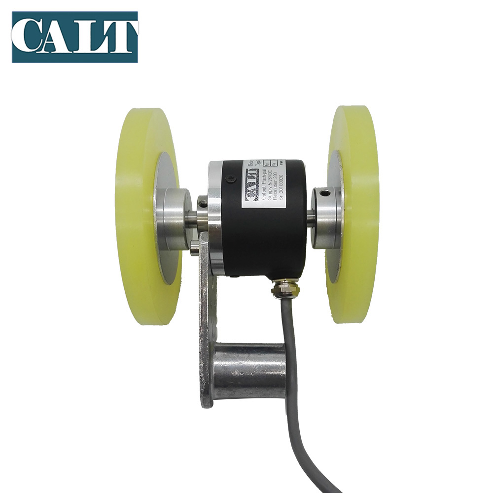 GHW52 Fabric Length Measuring Wheel Encoder 5V Push Pull Output 200mm Perimeter Two Wheels 52mm Incremental Rotary Hollow Shaft GHW52 Fabric Length Measuring Wheel Encoder 5V Push Pull Output 200mm Perimeter Two Wheels 52mm Incremental Rotary Hollow Shaft