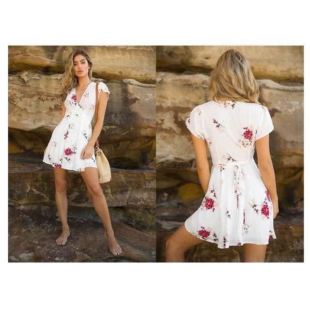 Cross V-neck Short-Sleeved Large Print Dress 4