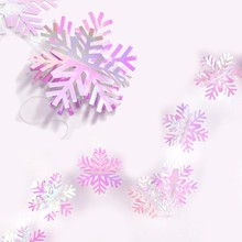 1pc 140cm 50 Iridescent Christmas Snowflake Garlands Tree Ornament Decorations For Festival New Year Decoration
