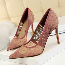 Women Red Lace Pumps Women's Fashion High Heel Party Wedding Shoes Female Pointed Toe Woman Shoes Ladies Single Shoes DS-A0195 все цены