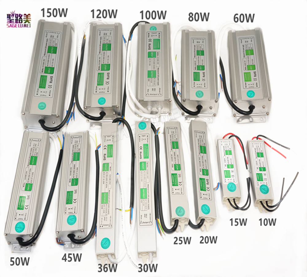 AC110V-220V ke DC12V Power Supply 10W 20W 30W 50W 80W 100W IP67 Waterproof 24V LED Transformer Elektronik Aluminium paduan driver