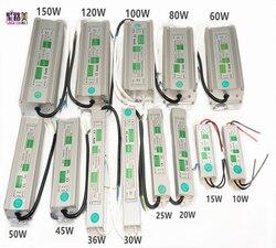 AC110V-220V to DC12V Power Supply 10W 20W 30W 50W 80W 100W IP67 Waterproof 24V LED Transformer Electronic Aluminum alloy Driver