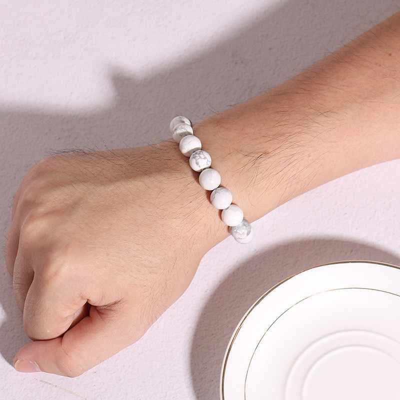 Vnox pulseira de pulso de pedra natural retro elástico pulseira de grânulo de mulheres dos homens presentes jóias