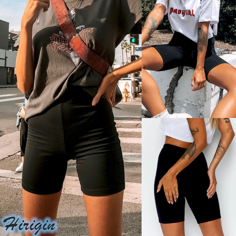 Summer Women Casual Shorts 2019 New Women Summer Black Casual Elastic High Waist Shorts Simple Hot Shorts Price $2.09