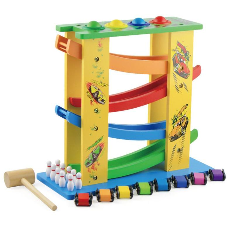 Wooden Track Educational Toys for Children Funny Three-in-one Track Glider Inertia Montessori ToysWooden Track Educational Toys for Children Funny Three-in-one Track Glider Inertia Montessori Toys