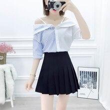 2019 Summer Korean Fashion Women Suit Stripe Splicing Condole Belt Off-The-Shoulder Shirt & Pleated High Waist Black Skirt off shoulder stripe pattern dress with waist belt