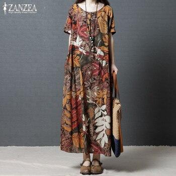4165a13c5b2ca Artı Boyutu Kaftan Keten Elbise kadın Sundress 2019 ZANZEA Vintage Baskı  Maxi Elbise Kadın Kısa Kollu Yaz Vestidos Robe 5XL