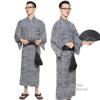 Traditional Japan Male Cotton Kimono With Obi Shoes Handbag Fan Summer Pajamas Robes Mens Dressing Gown Male Lounge Robes H9059